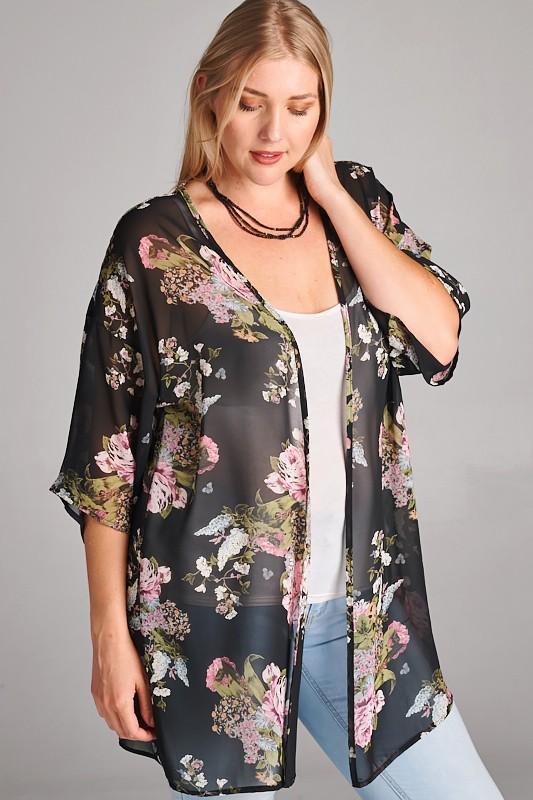 black floral chiffon kimono cardigan NHRQTXM