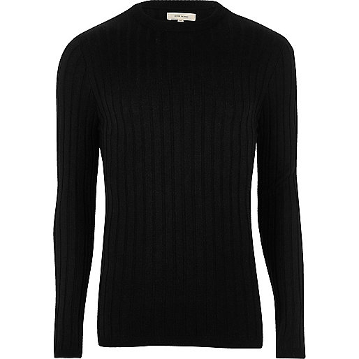 black jumper black chunky ribbed muscle fit jumper. u0027 UARQUSN
