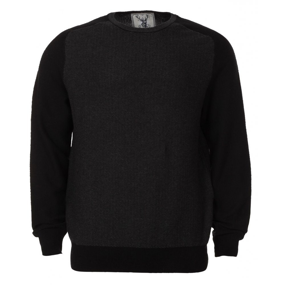 black jumper blue inc mens black raglan crew neck jumper SWCSNUA