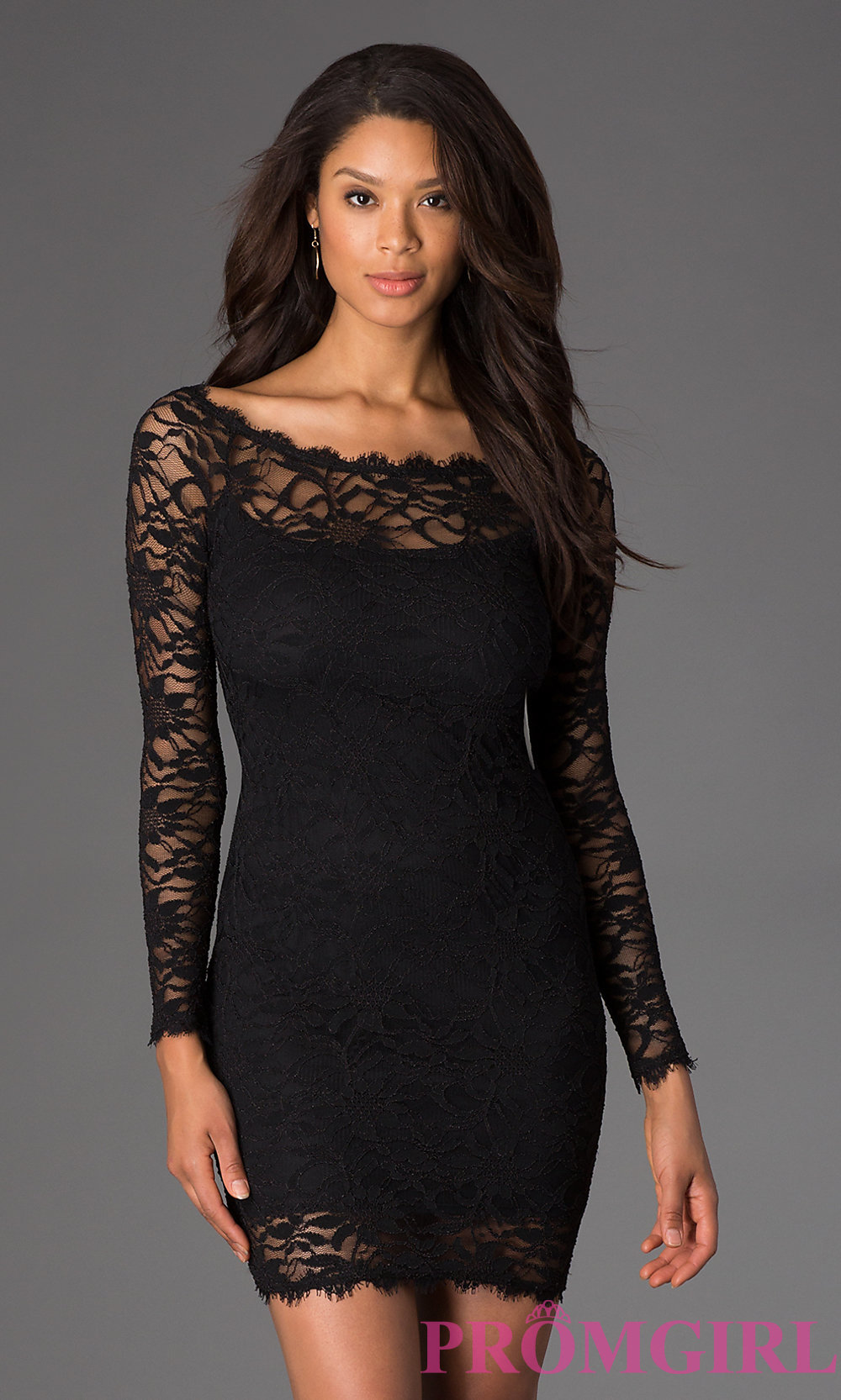 black lace dress hover to zoom · image of short black lace long sleeve dress ... ZASKHNA