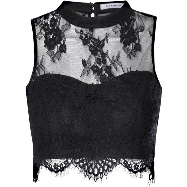 black lace tops black sheer lace scallop hem crop top ($32) ❤ liked on polyvore featuring  tops WYGQILX