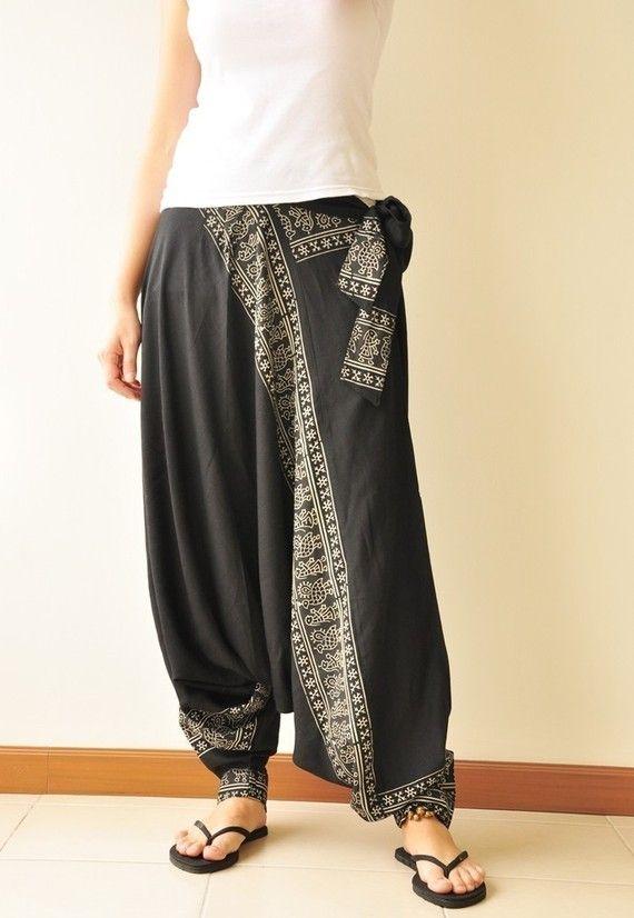 black printed rayon harem pants /gypsy pants/aladdin pants/genie pants/yoga  pants /thai pants KCRETCQ