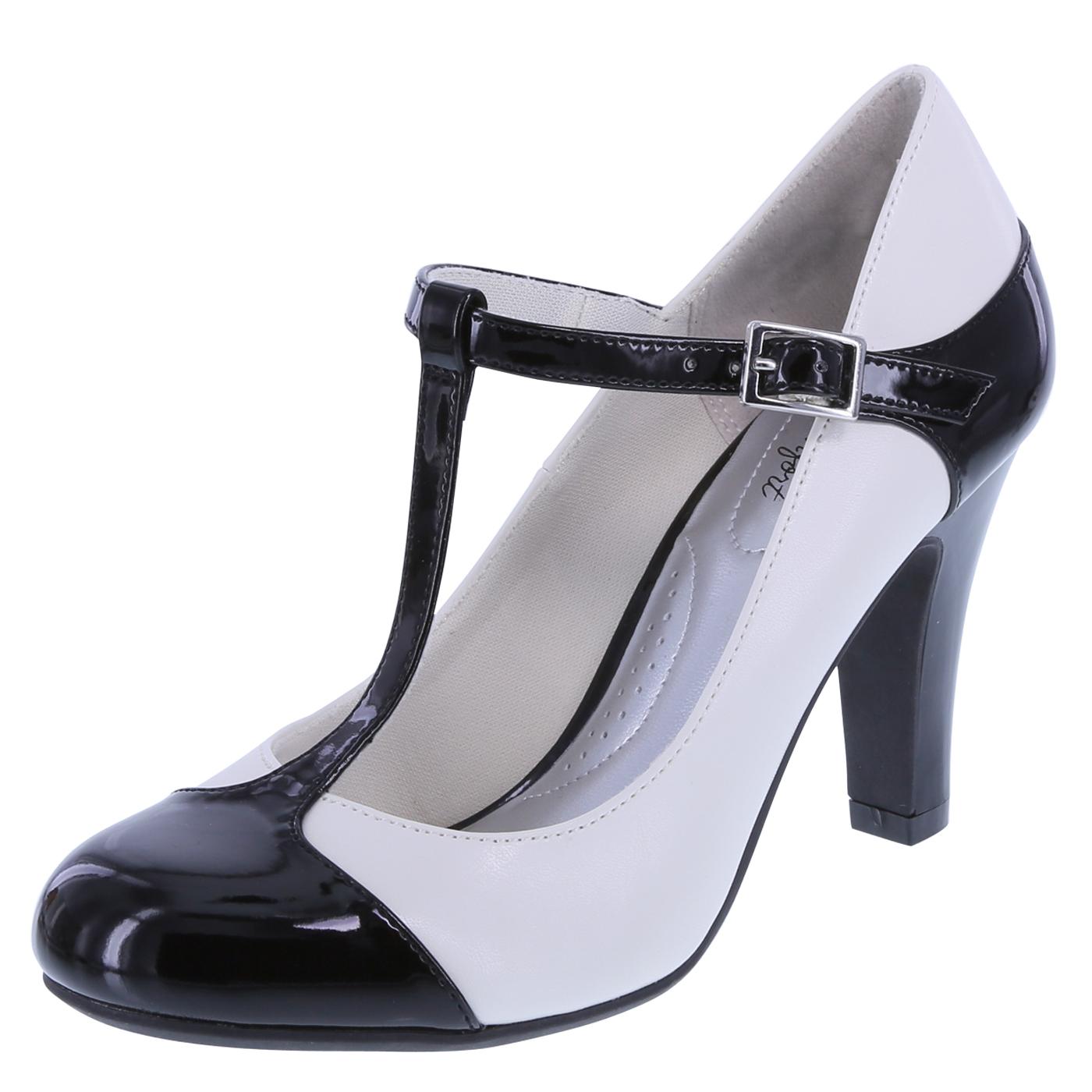 black pumps womenu0027s kathleen t-strap pumpwomenu0027s kathleen t-strap pump, black/ivory ONEIZFQ