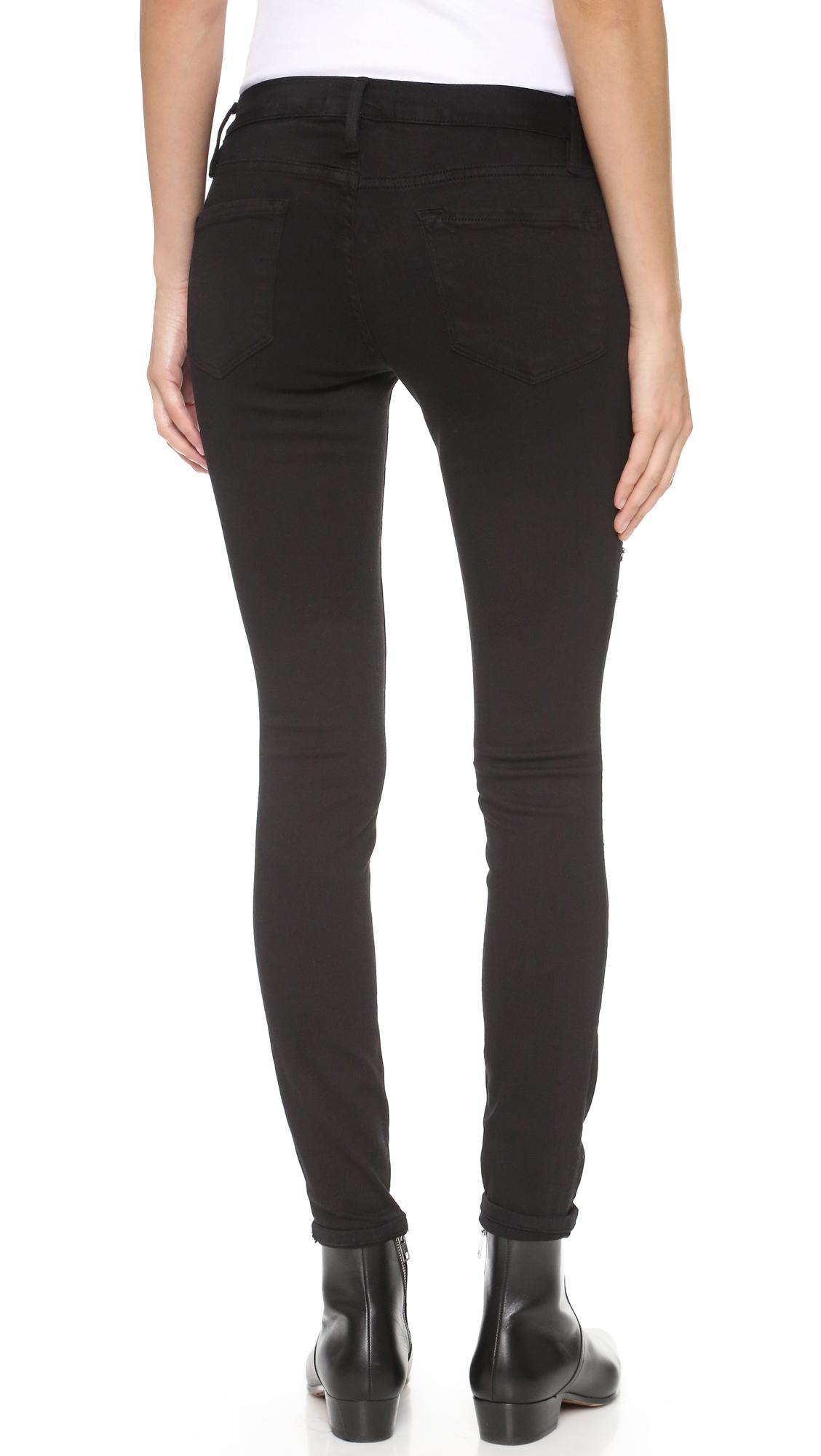 black ripped skinny jeans frame le color rip skinny jeans | shopbop YVMHECC