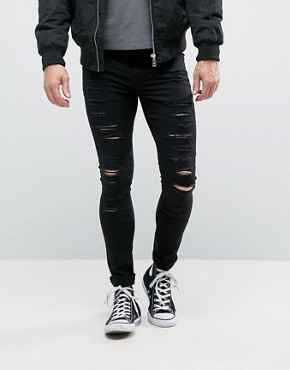 black ripped skinny jeans new look extreme super skinny jeans with rips in black MNXUMXY