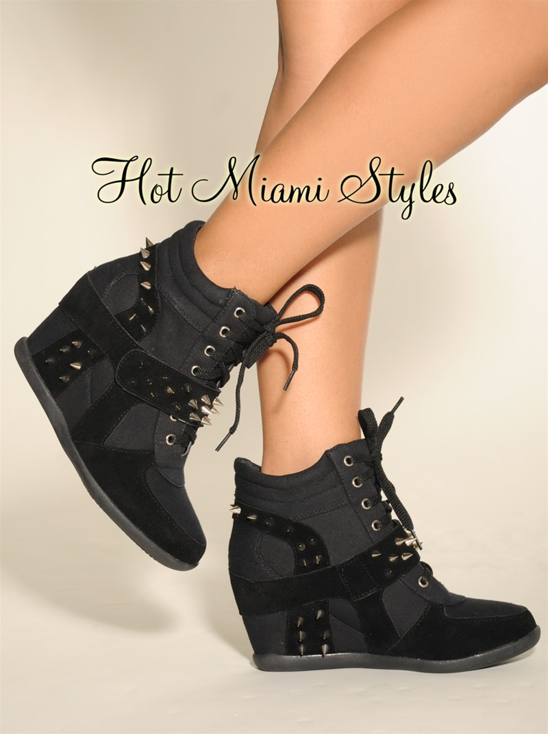 black silver spikes lace up hidden wedge sneaker boot FHUZZQH