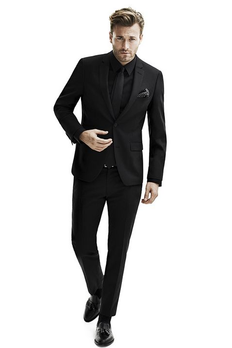 black suits all black, suit, vest, tie #style BJSUPUC