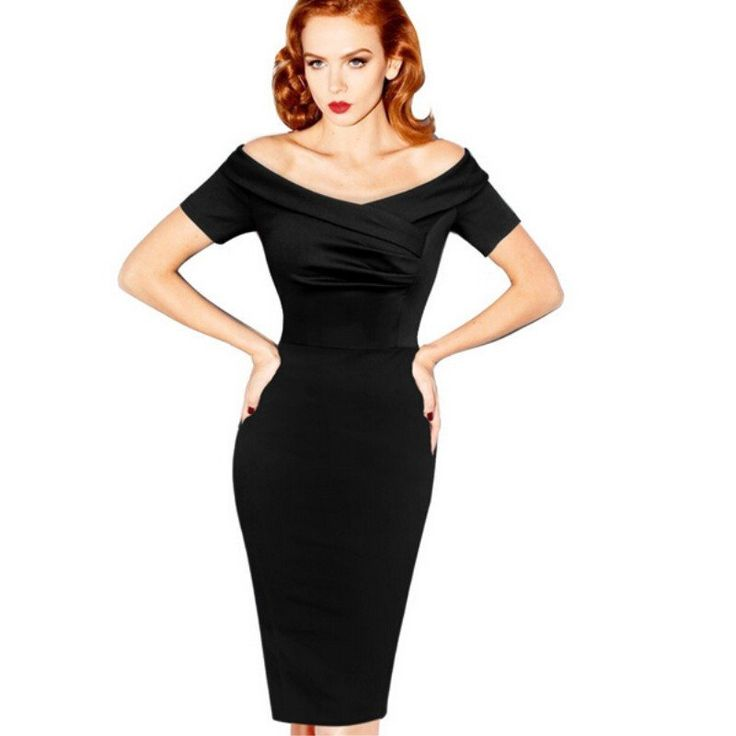 black vintage elegant pencil dress NMJBVSZ