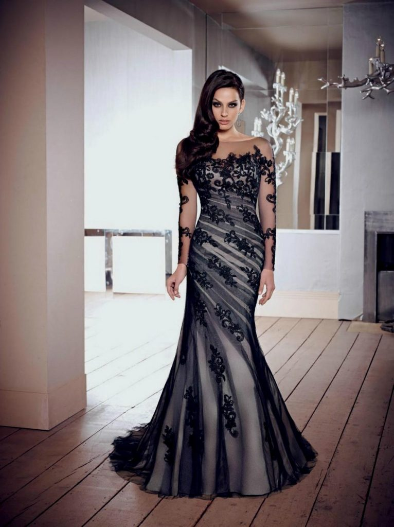 black wedding dresses black lace wedding dress with sleeves ...