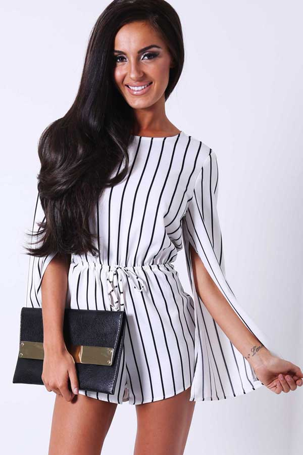 black white stripe slit design long sleeve romper @ sexy rompers and  jumpsuits for NPPXASK