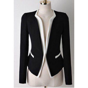 blazers for women casual splicing contrast color long sleeve blazer for women, black, xl in  blazers | JTXFREI