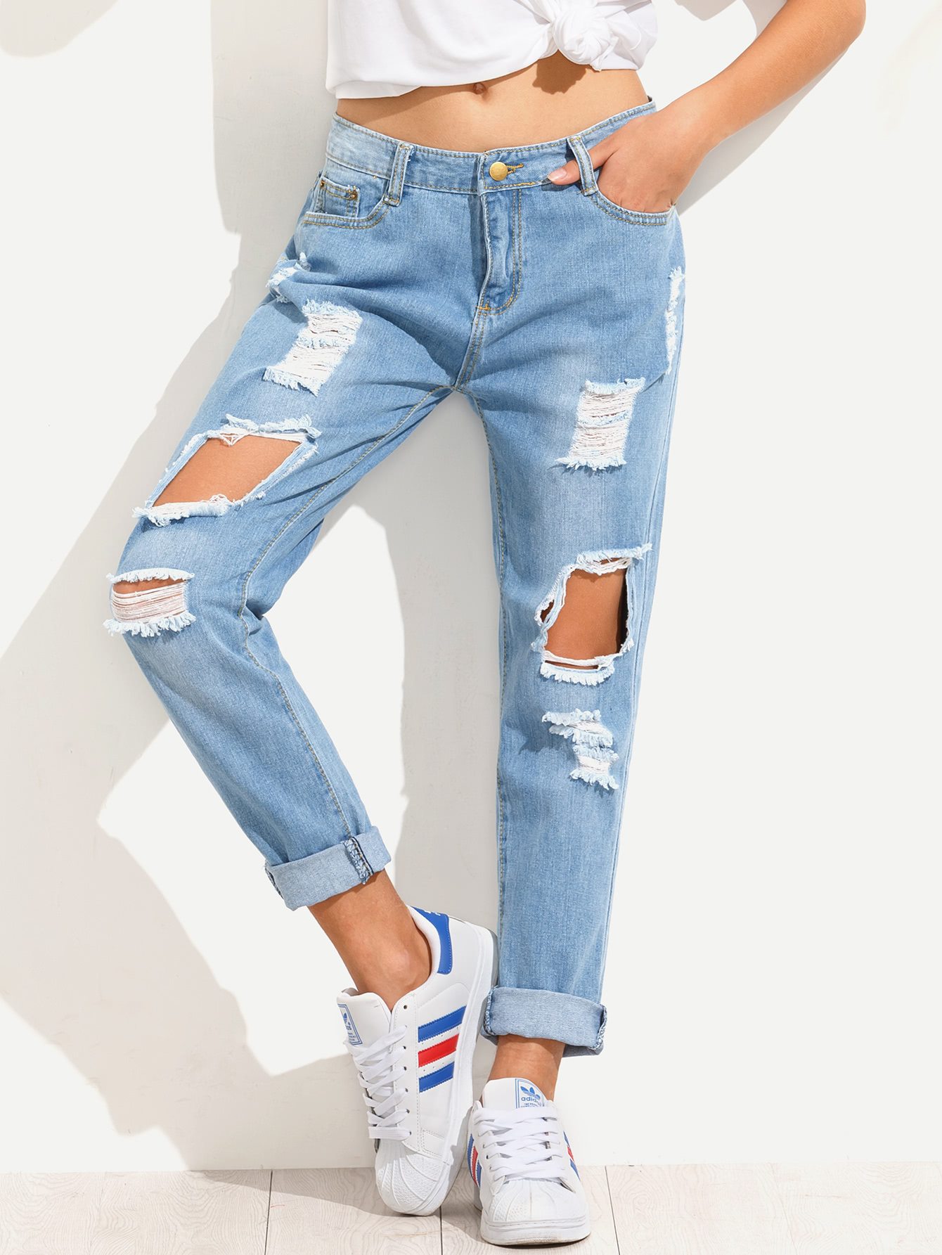 blue distressed boyfriend jeans UNODUAD