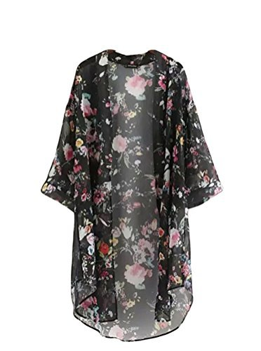 bluetime womenu0027s 3/4 sleeve floral high low chiffon kimono cardigan blouse  (m, black) SONDNNQ