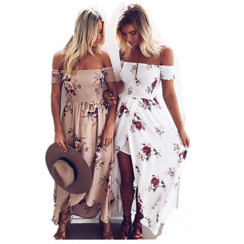 boho style boho chic style long dress women off shoulder beach summer dress floral  print vintage RDRUJGP