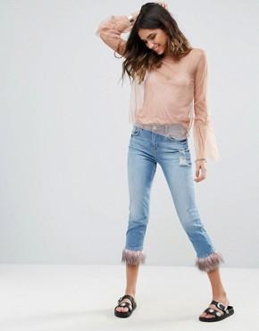boyfriend jeans river island faux fur trim cropped jeans RPLNQJE