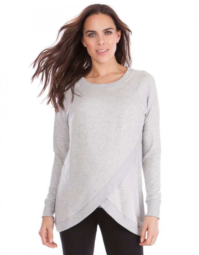 breastfeeding tops ... grey marl crossover maternity u0026 nursing sweater RDWMDIA