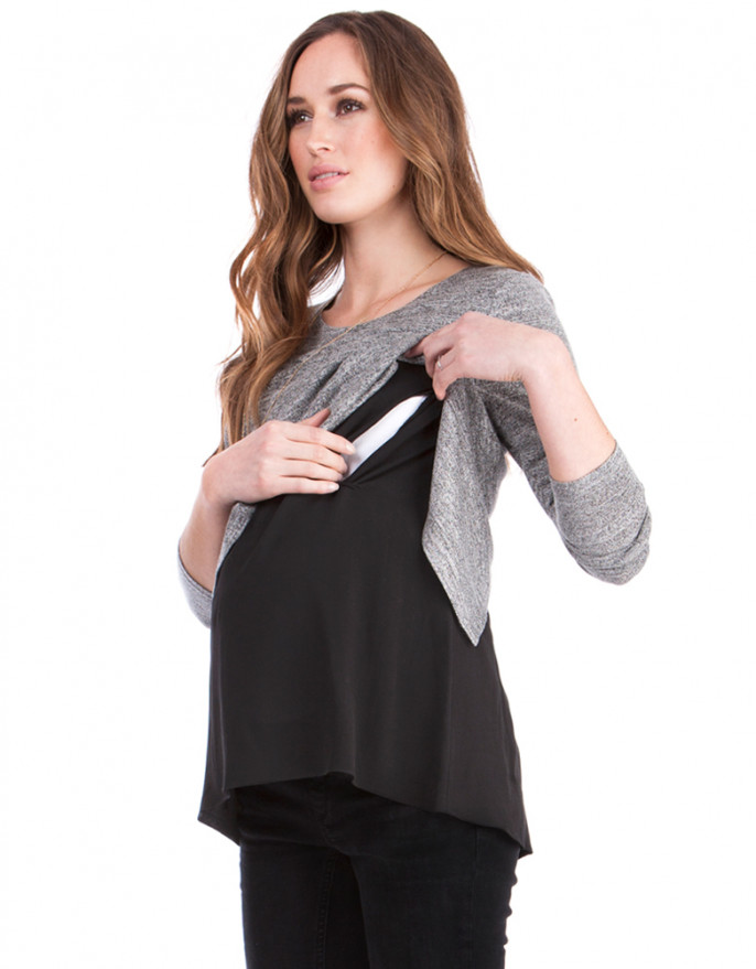 breastfeeding tops grey marl open back maternity u0026 nursing ... PJMWPXL