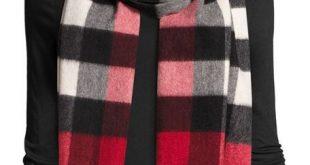 burberryhalf mega check cashmere scarf, parade red BVUBVJC