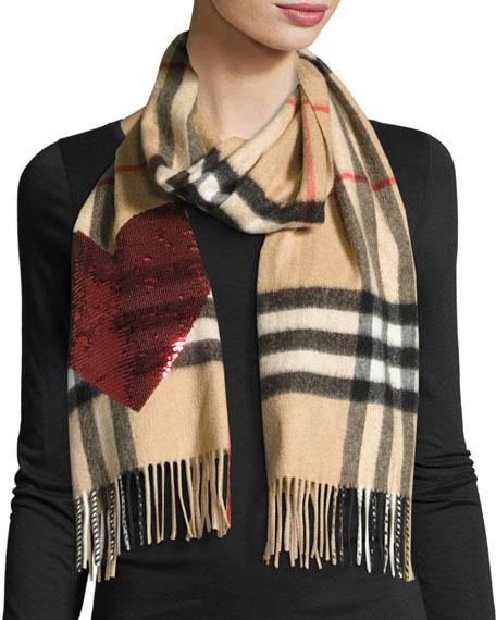 burberrysequin heart check cashmere scarf, camel red GOIMCQQ