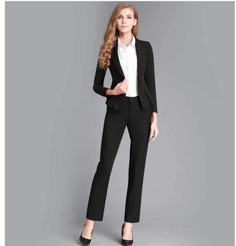 business suits for women 2015 new fashion solid women business suits custom made black formal office  suits work QISDXMU