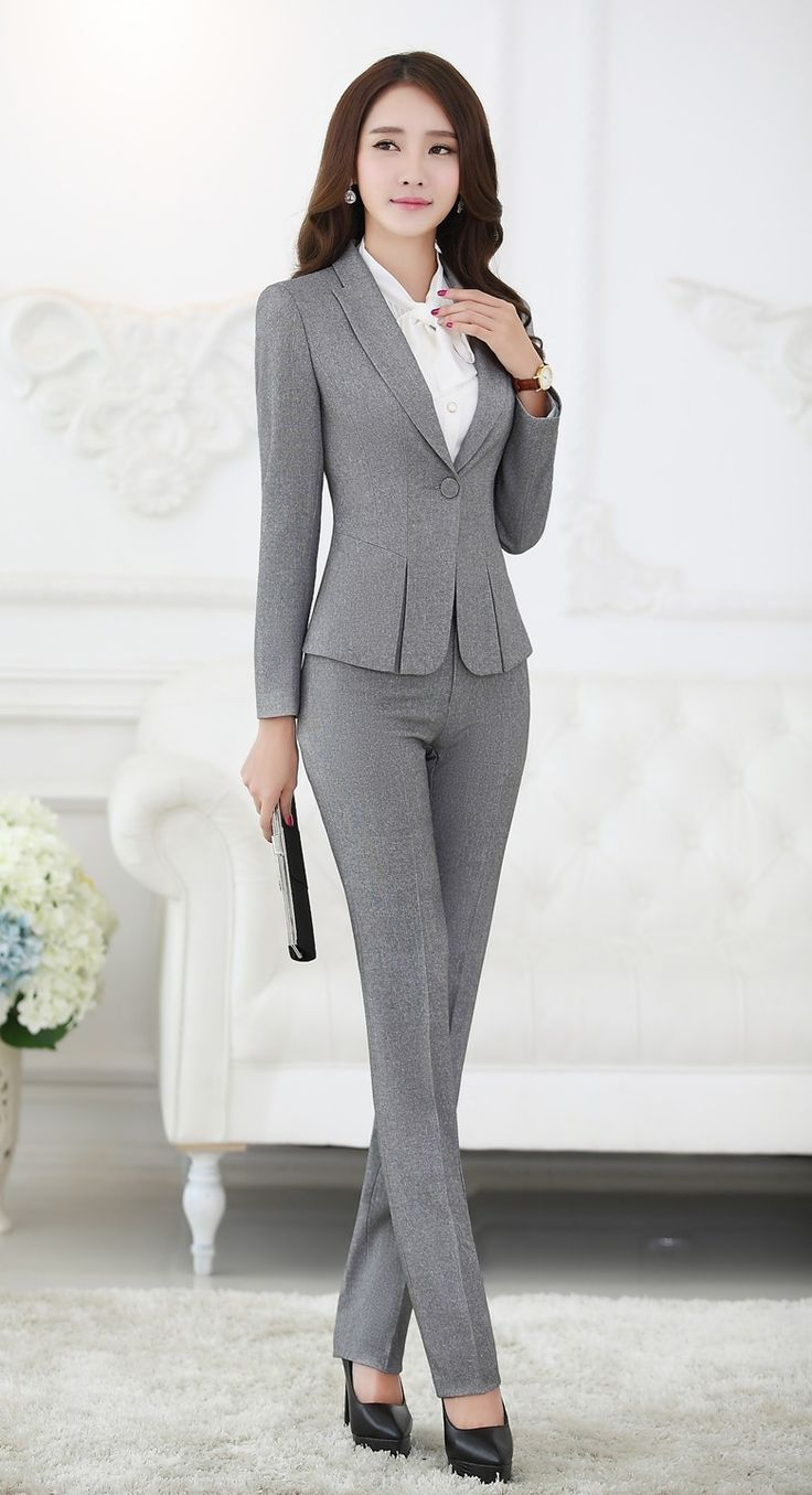 business suits for women formal pant suits for women business suits for work wear sets gray blazer  ladies MCXVYSP