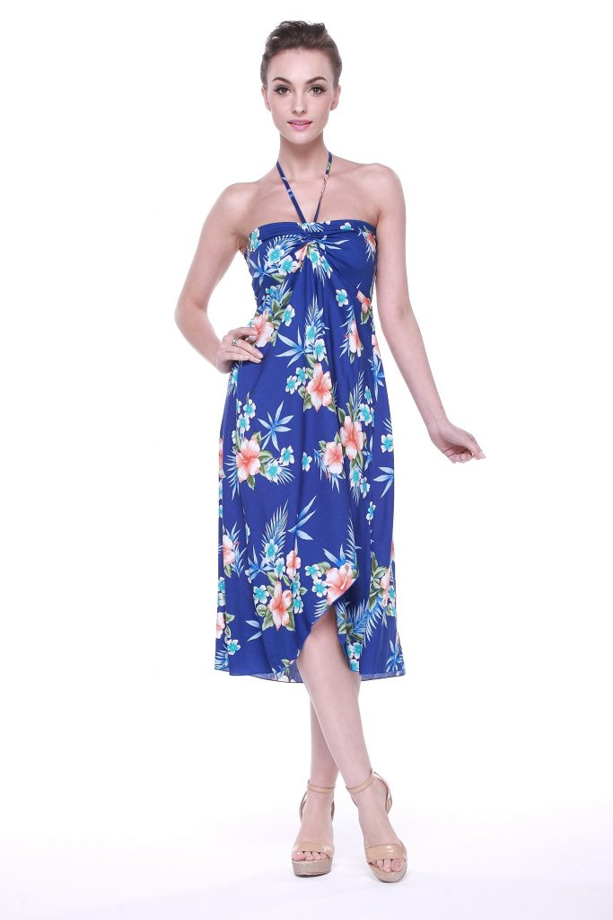 butterfly hawaiian dress in hibiscus blue YUQYGJQ