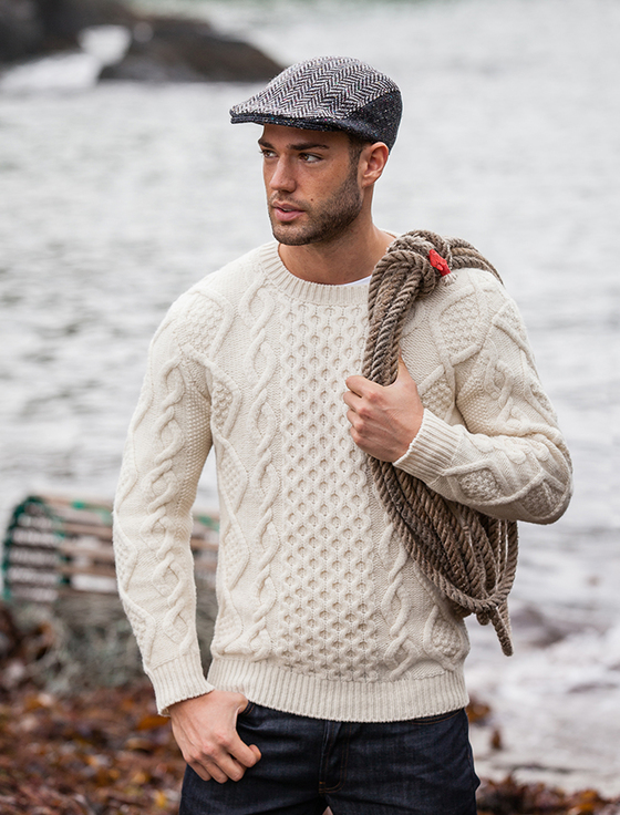 cable knit sweater aran cabled sweater- fisherman sweater - natural white CWEHXKI