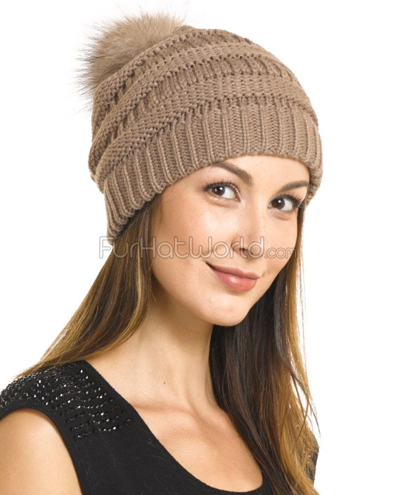 camel chunky knit beanie with fox fur pom pom HDJXBMB