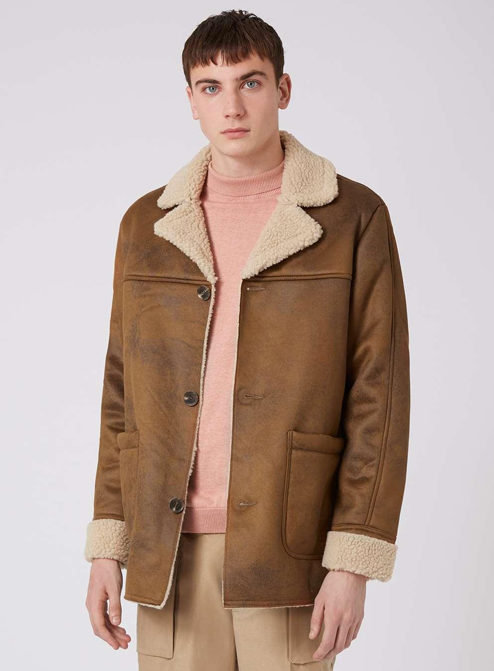 camel faux shearling coat - topman usa LTIDUYM