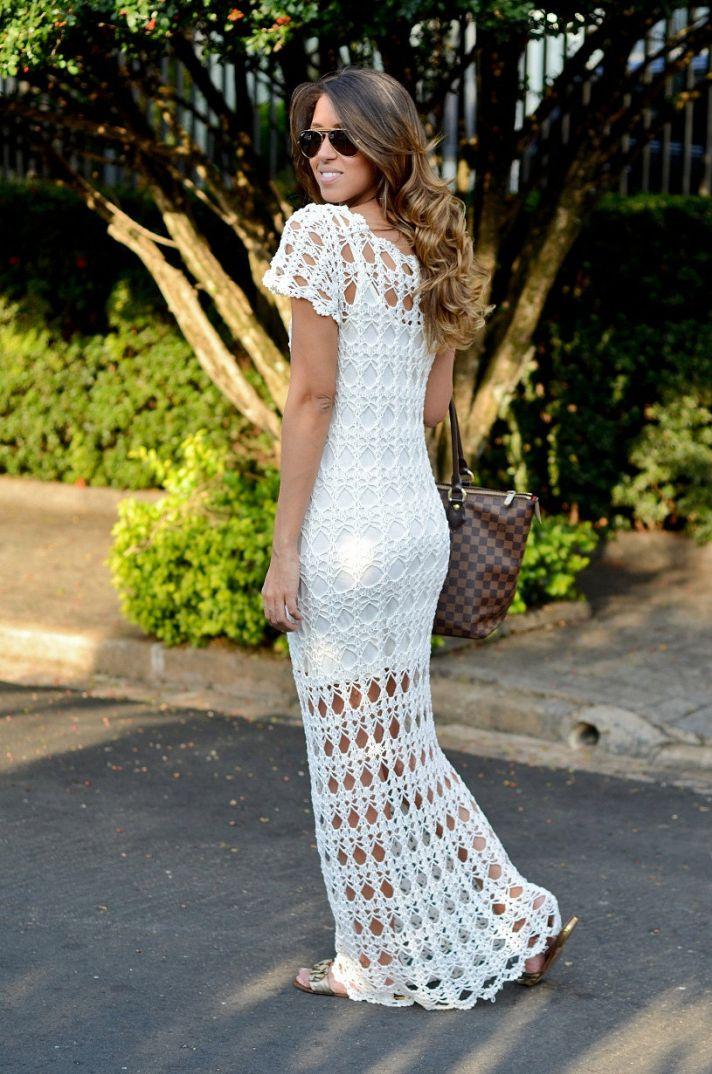 casual crochet wedding dress MFQOPAD