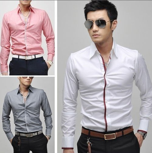casual pink shirt for men 2015 free shipping new men\`s casual slim fit stylish dress shirts men\`s  clothing color IHULDKK