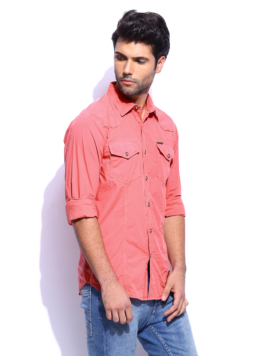 casual pink shirt for men mens pink casual shirts TYPPUDK