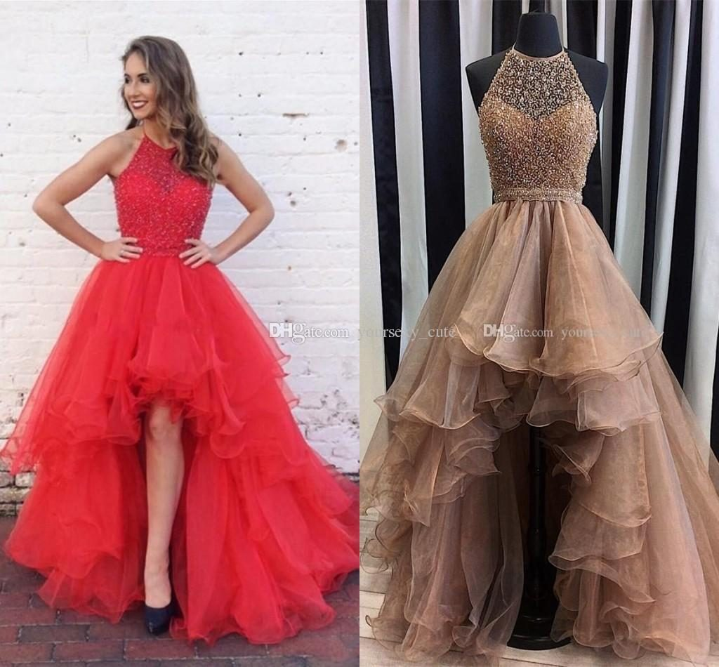charming champagne high low prom dresses halter sequins beaded organza  tiered skirt backless cocktail ATOQETX