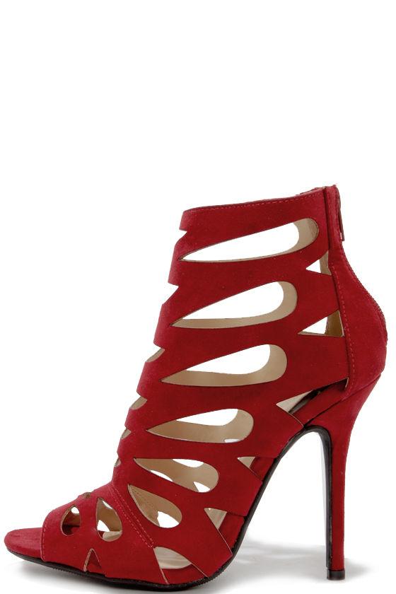 chic wine red heels - caged heels - laser cut heels - $30.00 NEKBRJX