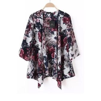 chiffon kimono cardigan floral print (multicolor) XFIPKHR