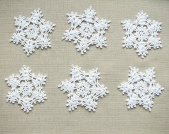 christmas decors crochet snowflakes christmas ornaments wedding decors  appliques (set of 6) IXIQOPD