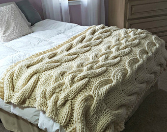 chunky oversized cable knit blanket-made to order AFGLJKM