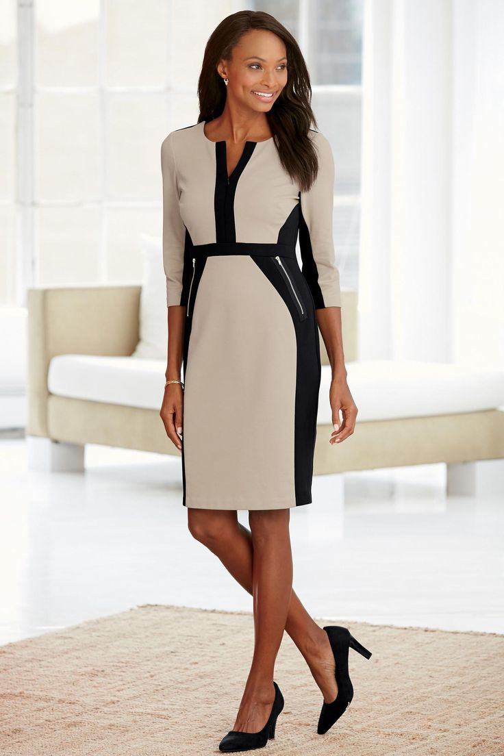 classic dresses a beige u0026 black colorblock stretch pencil dress offers an elegant and  sophisticated look YOIXVVW