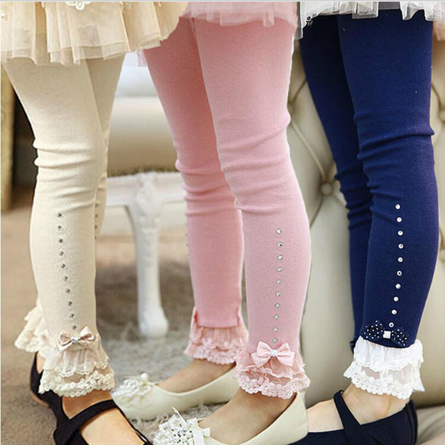 clearance 2017 spring flower girl pants toddler baby girl leggings children  lace trim ruffle WFYAAHQ