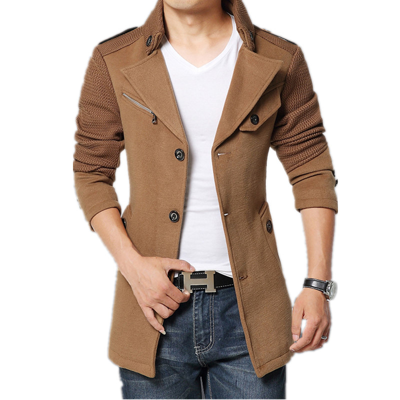 coats for men 2017 brand winter jacket coat men turnd-down collar slim fit mens pea coat  khaki TKTXFYU