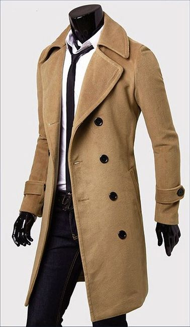 coats for men fashionable casual style long sleeves solid color slimming double breasted  coat for men found UBARASJ