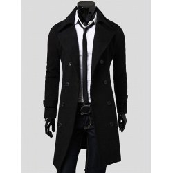 coats for men wholesale double breasted overcoat with side pockets – black l polyester  winter CPCPMIG