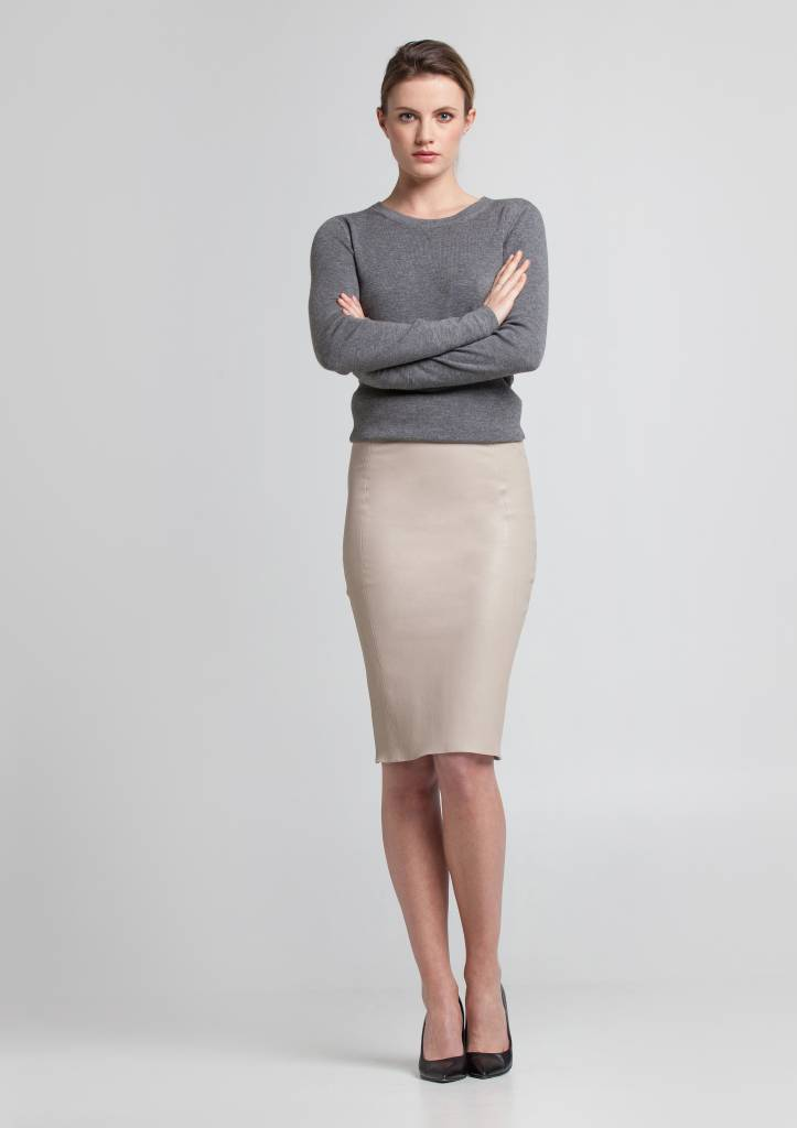 coco leather pencil skirt cream ... BMVYLYG
