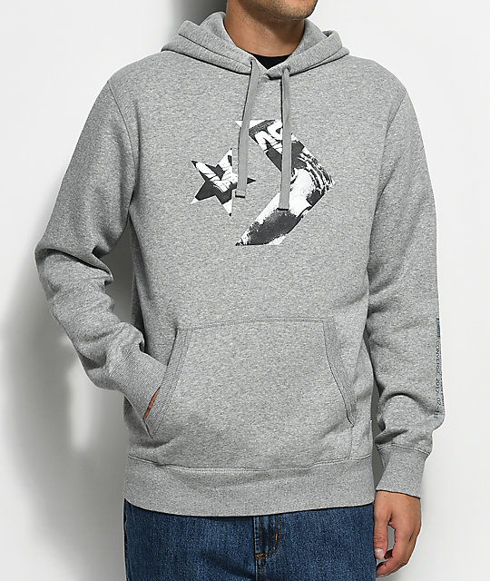 Converse Hoodie converse cons star chevron athletic grey pullover hoodie IRJTTPH