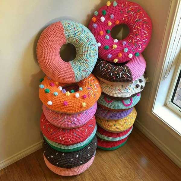 cool crochet patterns so cute crocheted donut pillows. - top 20 cutest crochet projects help to  personalize KZEODFO