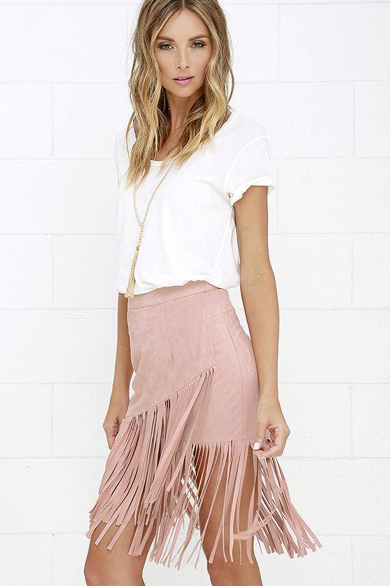 cool vegan suede skirt - blush skirt - fringe skirt - midi skirt - $42.00 SIDTGMZ
