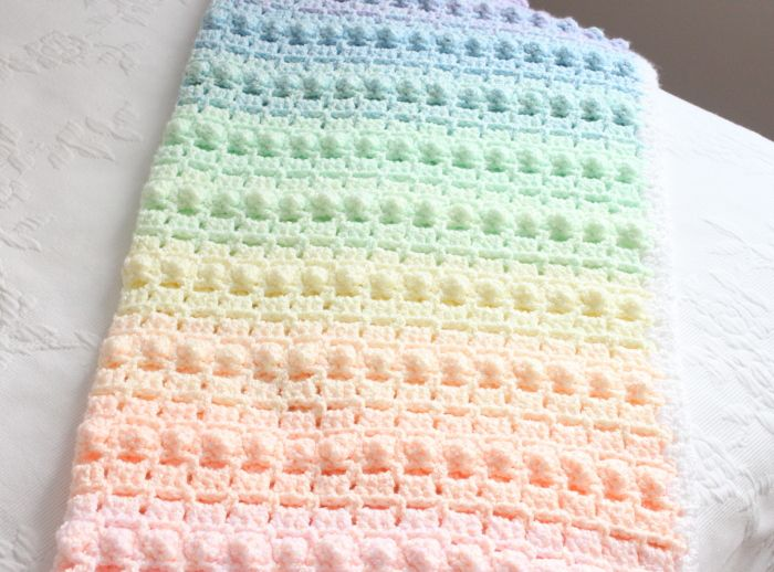 crochet baby blanket patterns crochet pattern rainbow baby blanket pretty popcorn stitch just for the  colors omg KMMZUBU