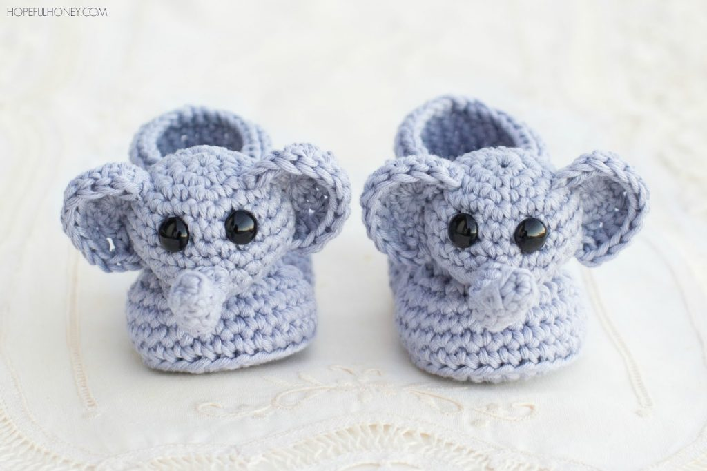 crochet baby booties ellie the elephant baby booties – free crochet pattern GFSIJHQ