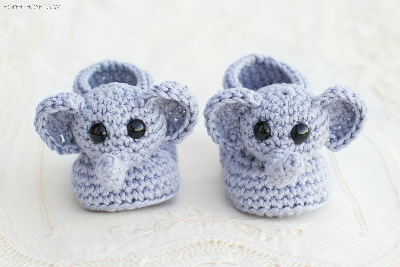 crochet baby booties ellie the elephant baby booties - free crochet pattern GFSIJHQ