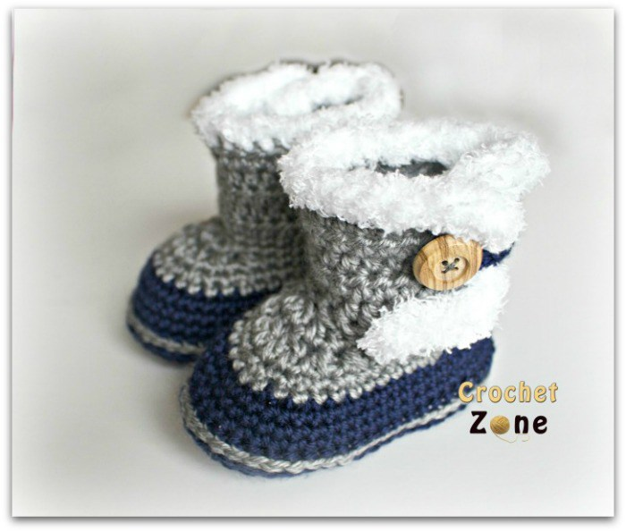 crochet baby booties fur topped baby booties HTFRDPT